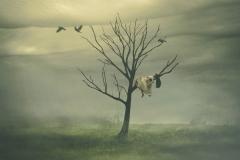 Keren Stanley tree girl fine art conceptual misty scene